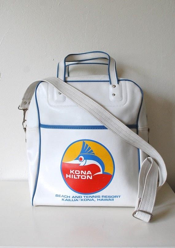 Vintage Big Hawaiian Travel Carry On Flight Bag - Kona Hilton - Vegan VInyl