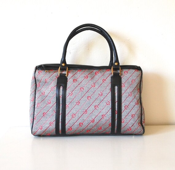 Vintage Gray and Red Fabric & Leather Speedy Boston Bag