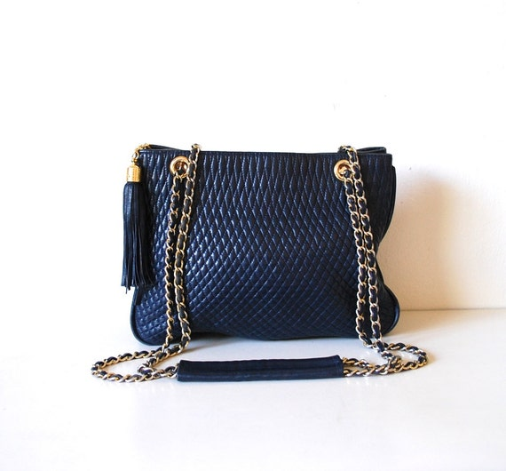 Vintage Navy Quilted Leather Chain Strap Bag