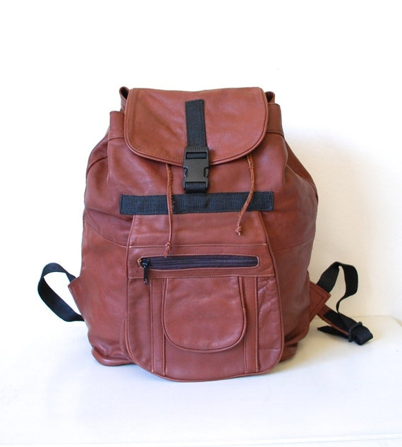 Vintage Leather Large Cognac Drawstring Rucksack  / Backpack
