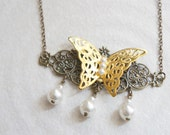 Magic Golden Butterfly - Gold & Antiqued Brass - Filigree Layers Collage Necklace - Wearable art