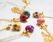 1pc Candy Skull with the Golden Bow Necklace - Stone Bead - Yellow Turquoise Purple White Pink Red
