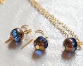 Goddess of the Sea - Ocean Blue Glass Bead Set - Dangle Earrings & Necklace