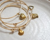 1 pc of Heart Bangle - 4 Charms Available - Shell Strawberry Heart Squirrel