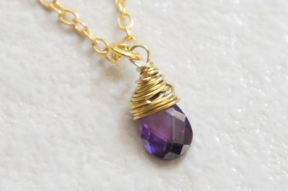 SALE Tiny Amethyst Faceted Gemstone Teardrop Necklace