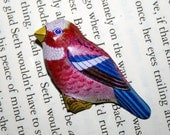 On sale as slight damage - Last One - Vintage 1950s Japanese Tin Bird Brooch - Red & Blue Finch