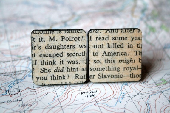"""Murder Mystery Cuff Links - Vintage Book - Agatha Christie """"Poirot"""" - Mixed Media - Decoupage - Square"""