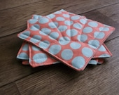 drink coasters, quilted, set of four sunspot fabric tangerine and teal