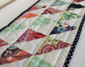 quilted table runner,patchwork, geometric, triangles in Amy Butler Love fabric