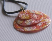 Fused bubble wrap necklace, orange, yellow, and white