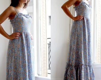 Ruffled maxi dress Flower maxidress XxS/ robe longue à fleurs à volants 34