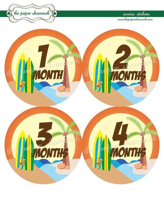 Beach - Baby Monthly Milestone Stickers, Baby Stickers, Monthly Stickers, Month Stickers, First Year Belly Sticker