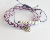 Wish friendship bracelets sets with silver heart on waxed cord - plum, pink // my hearts belong to you
