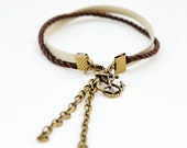 Charm friendship bracelet - earthy brown // nautical anchor