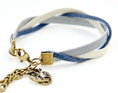 Charm friendship bracelet - faded navy // nautical anchor