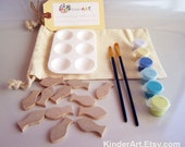 DIY Wooden Fish and Paint Kit (Ocean Blue) in a Bag Arts and Crafts Kit for Kids