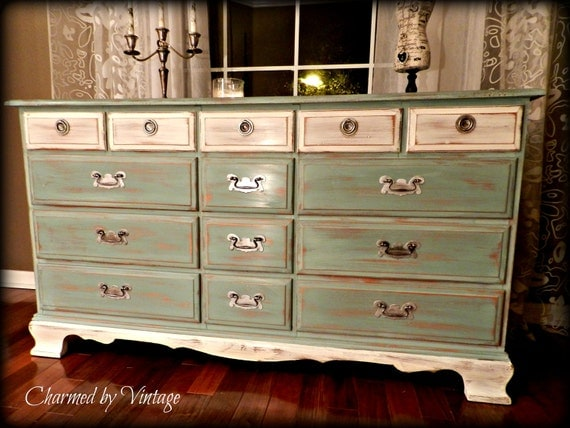 Shabby French Beach Cottage Dresser (RESERVED for Ximena)