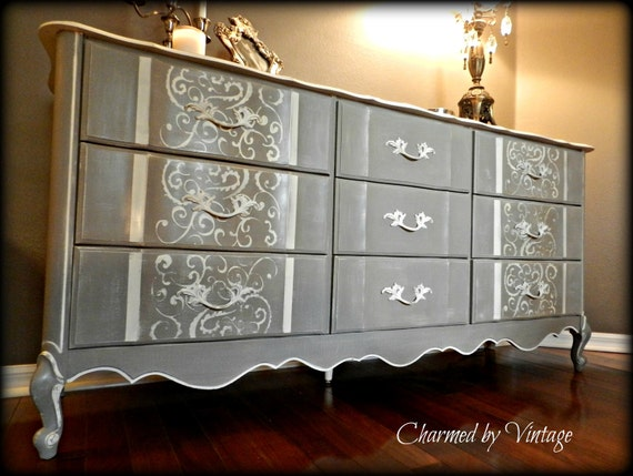 Vintage Shabby Glam French Linen Dresser (Reserved and Sold to Lauren)