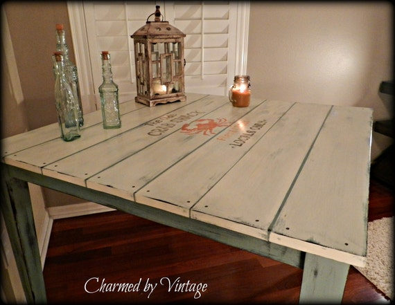 Shabby Coastal Cottage Table (RESERVED for Vivian)