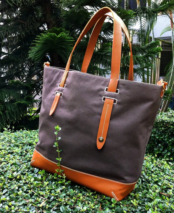 HEIKI. C Summer Sale 10% off--- Handmade Grey Twill Canvas Tote with Asymmetrical Leather Handles, Go Preppy :)