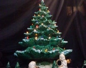 "22""-24""Tall- Full Christmas Tree-Light Kit Base-Green or White-Ceramic-Made to Order"