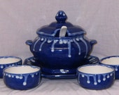 Handcrafted Octagon Serving Bowl Set-8 pc-Ceramic