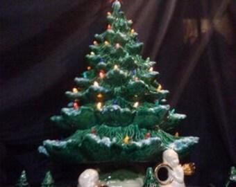 """22""""-24""""Tall- Full Christmas Tree-Light Kit Base-Green or White-Ceramic-Made to Order"""