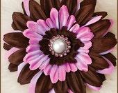 Flower Hair Clip  - Daisy   Pink/Brown