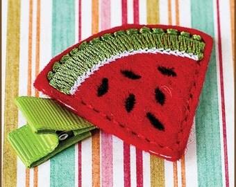 Watermelon Hair Clip Felt - Baby Hair Clippie - Felt Watermelon Clip - Picnic Hair Clip - Felt Clip