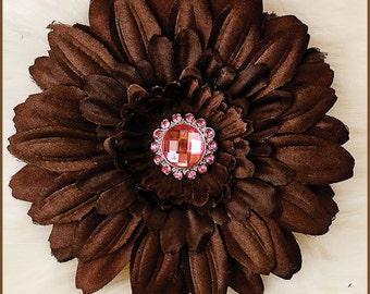 Flower Hair Clip  - Daisy  Brown/Pink