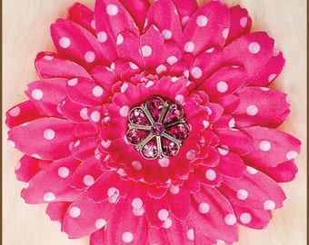 Flower Hair Clip  - Daisy   Hot Pink Polka Dots