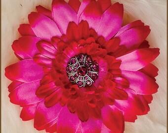 Hot Pink Flower Hair Clip  - Hot Pink Daisy - Pink Newborn Hair Clip - Baby Hair Clip