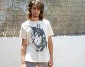 SALE Lone Wolf  T-shirt // nude color // Size M/L