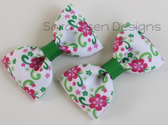 Tuxedo Hair Clip, Set of 2 Simple Bow Tie Hairbows, Pigtails, 2 1/2 inch Bow, M2M Gymboree Floral Mermaid Pink Emerald Green Lime