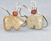 Reserved for Diane Whitbeck Picture Jasper Bear Totem Earrings