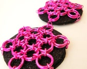 Hot Pink Chain Maille Pasties, Chain Mail Pasties -  by Atelier Adornments