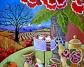 2 sizes PRINT - A Tea Party with Cake, Flowers and Persimmons