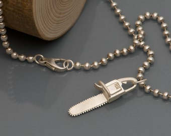 Silver Chainsaw Necklace - Killer Charm Necklace - Sterling Silver Chainsaw Pendant - Free Shipping