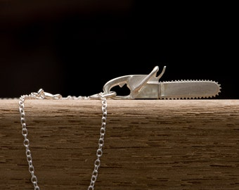 Silver Chainsaw Necklace - Silver Pendant Necklace with Chainsaw - Sterling Silver - Free Shipping