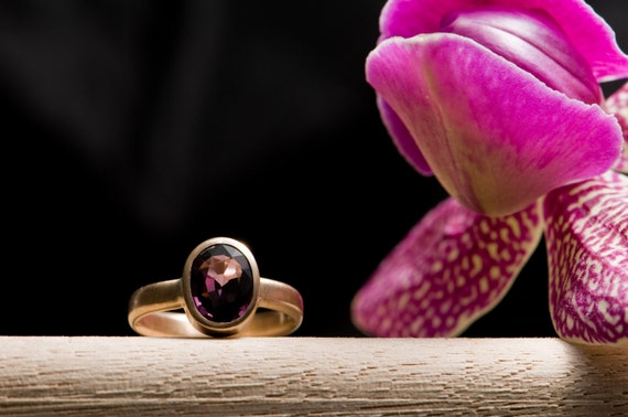 Spinel Ring with Purple Stone set in Recycled 14ct Yellow Gold Size 6.5 - Free Shipping