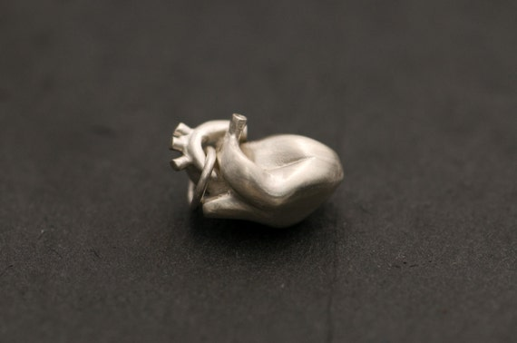 Silver Anatomical Heart Charm - Sterling Silver - Free Shipping