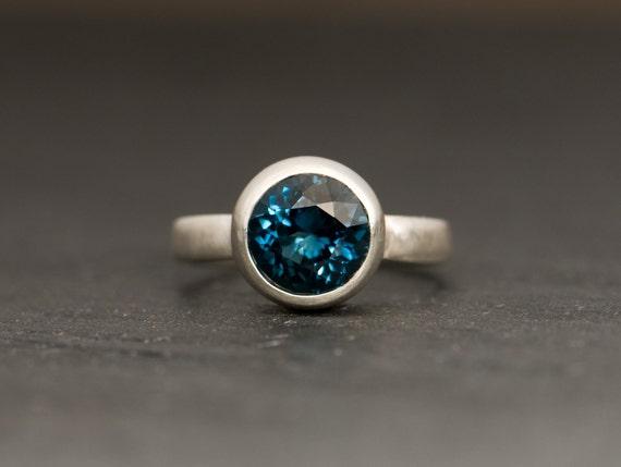Blue Topaz Ring - London Blue Topaz Ring - Silver Blue Topaz Ring - Sterling Silver - Made to order - FREE SHIPPING