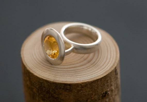 Big Golden Citrine Ring - Set in satin finished Sterling Silver - Free Shipping - Ring Size 6 1/2