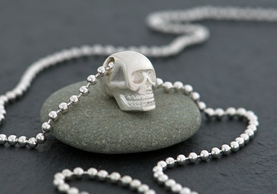 Silver Skull Pendant on Silver Ball Chain - Free Shipping