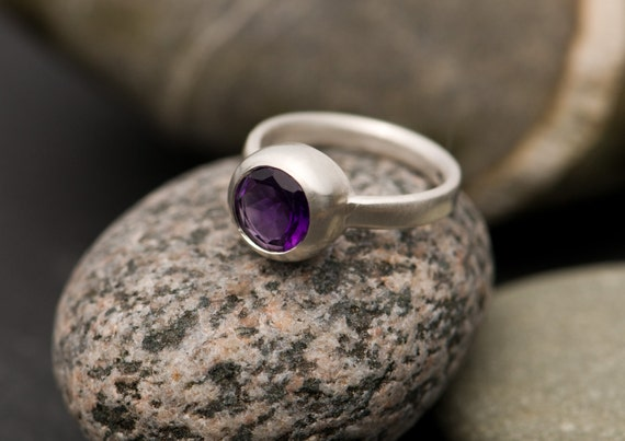 Amethyst Ring - Purple Amethyst Ring - Purple Gemstone Set in Sterling Silver - Made to Order - FREE SHIPPING