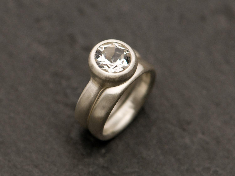 white topaz engagement ring white topaz wedding by. Black Bedroom Furniture Sets. Home Design Ideas