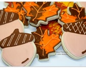 Gobble Gobble Cookies with fall leaves, acorns, and turkeys