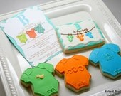 Baby Onesies on a Clothesline Hand Decorated Cookie to Match Invitation Design//Baby Shower and New Baby Favors