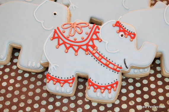 Indian Outfitted Elephant Hand Decorated Sugar Cookie//Shower or Wedding Favor, Birthday Favors