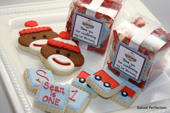 Sock Monkey Cookies in a Box//Hand Decorated Sugar Cookies in a box include sock monkey, wagon, and monograms//birthday favors